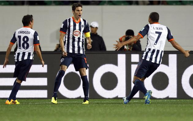 Jose Maria Basanta of Mexico's Monterrey celebrates his goal against Morocco's Raja Casablanca during their FIFA Club World Cup soccer match in Agadir