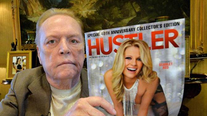 Porn mogul Larry Flynt talks about the 40th anniversary of Hustler magazine at his office in Beverly Hills on August 26, 2014