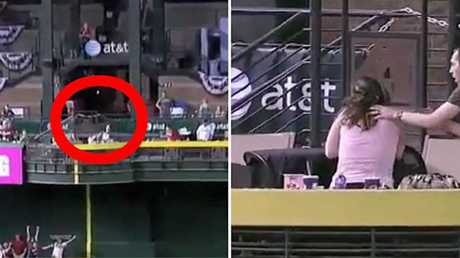 Chivalry is dead: Man jumps out of way, leaving girlfriend to be hit in face by baseball