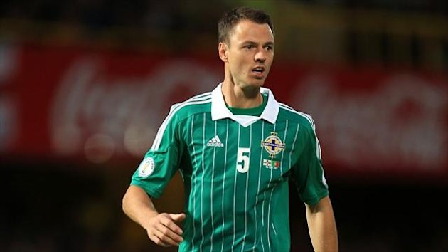Jonny Evans was sent off in the dying minutes against Azerbaijan