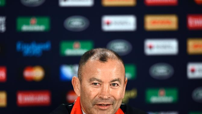 Japan's head coach Eddie Jones gives a press conference in Gloucester on October 10, 2015, during 2015 Rugby Union World Cup