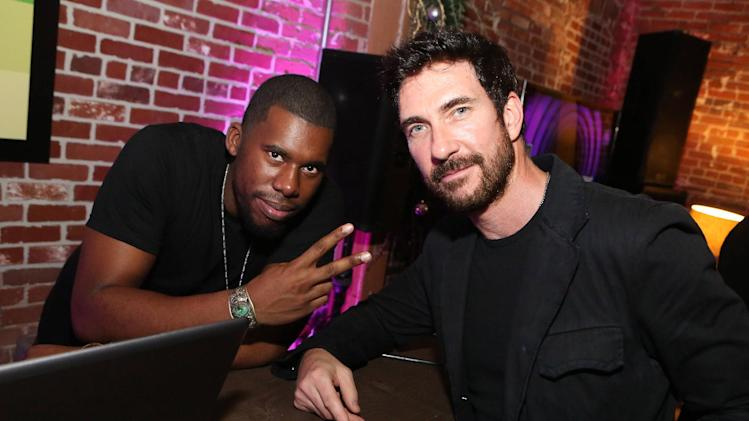 IMAGE DISTRIBUTED FOR MICROSOFT - Dylan McDermott, right, and DJ Flying Lotus are seen at the Microsoft All Access Hot Holiday Party, on Thursday, Dec. 6, 2012 in Venice Beach, Calif. (Photo by Casey Rodgers/Invision for Microsoft/AP Images)
