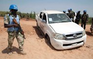 One of the United Nations-African Union Mission in Darfur (Unamid) vehicles targeted in an ambush by unidentified assailants on October 3, 2012, in which four Nigerian peacekeepers were killed and eight wounded. Picture: REUTERS