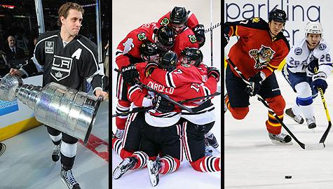 NHL realignment: Los Angeles Kings' Anze Kopitar with the Stanley Cup (playoffs); Chicago Blackhawks celebrate goal; Florida Panthers vs. Tampa Bay Lightning