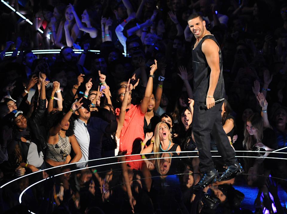 Drake performs at the MTV Video Music Awards on Sunday, Aug. 25, 2013, at the Barclays Center in the Brooklyn borough of New York. (Photo by Scott Gries/Invision/AP)