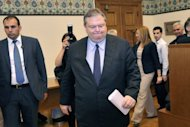 Greek socialist leader Evangelos Venizelos arrives for a televised address at the Greek parliament in Athens May 11. Greece&#39;s president was set Saturday to call last-ditch talks in a bid to forge an emergency unity government and avoid fresh elections, after the main parties failed to form a working coalition