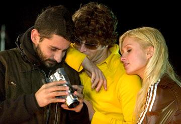 Director Jaume Collet-Serra , Jon Abrahams and Paris Hilton on the set of Warner Bros. Pictures' House of Wax