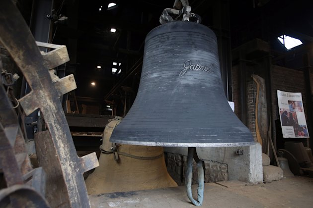 A new bell bound for Notre Dame cathedral in Paris,&quot;Gabriel&quot; is seen Friday, Dec. 7, 2012, after being cast in the foundry of Villedieu les Poeles, Normandy, France.  Paris' Notre Dame Cathedral will 