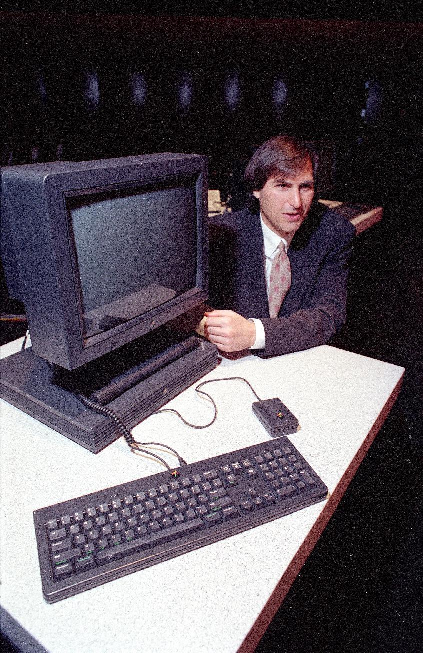 1990 - Steve Jobs, president and CEO of NeXT Computer Inc., shows off his company's new NeXTstation after an introduction to the public in San Francisco. Apple on Wednesday, Oct. 5, 2011 said Jobs
