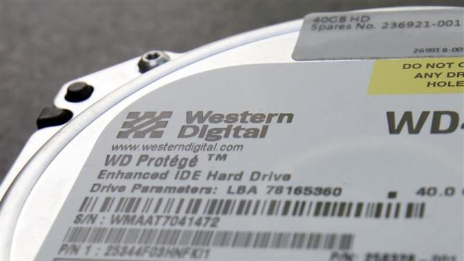 Picture illustration shows a Western Digital Corp's hard drive at an electric appliance store in Tokyo