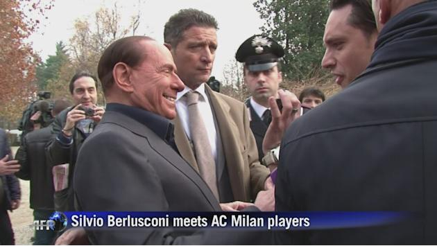 Berlusconi talks football and politics at AC Milan