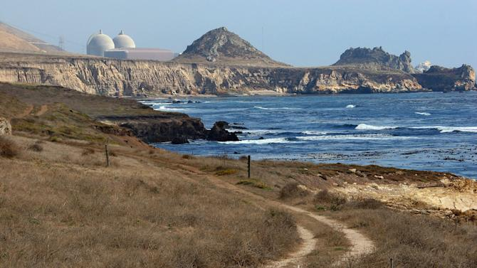 FILE - In this Sept. 20, 2005 file photo is the Diablo Canyon Nuclear Power Plant in Avila Beach, Calif. State and federal officials are juggling concerns over endangered whales and other marine life with public safety as they mull over plans to use massive air canons to create new earthquake fault maps in two state marine reserves off the Central Coast. Pacific Gas & Electric Co. wants to use the canons to make maps of shoreline fault zones recently discovered near its Diablo Canyon nuclear power plant. (AP Photo/Michael A. Mariant, File)