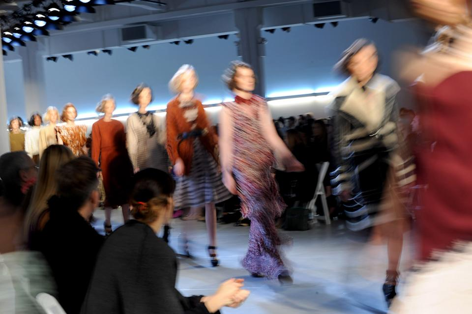 The Rodarte Fall 2012 collection is modeled during Fashion Week in New York, Tuesday, Feb. 14, 2012. (AP Photo/Diane Bondareff)