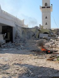 The destroyed section of the mausoleum of Al-Shaab Al-Dahman near the centre of Tripoli after Islamist hardliners bulldozed part of it in the second such attack in Libya in two days. Hardline Sunni Islamists are implacably opposed to the veneration of tombs of revered Muslim figures, saying that such devotion should be reserved for God alone. AFP PHOTO/MAHMUD TURKIA