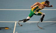 South Africa's athlete Oscar Pistorius after competing in the men's 400 meters semi-finals at the International Association of Athletics Federations (IAAF) World Championships in Daegu, South Korea, in 2011. Pistorius will become the first double amputee to compete at the Olympics after being included Wednesday in the South African 4x400-metre relay team for 2012 London Games, an official said