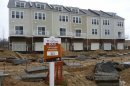 Sold sign outside new townhouse construction site in Fairfax, Virginia, outside Washington