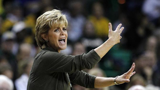 Baylor head coach Kim Mulkey  instructs her team during the first half of an NCAA women's college basketball game against Kentucky, Tuesday, Nov. 13, 2012, in Waco, Texas. (AP Photo/Tony Gutierrez)