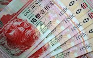 File photo of HSBC 100 Hong Kong dollar banknotes. The Hong Kong Monetary Authority has sold $603 million worth of Hong Kong dollars in the foreign exchange market in an effort to curb the currency's rise, according to a report