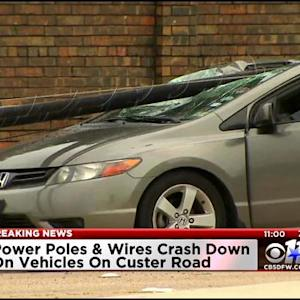 Power Poles Knocked Onto Cars In Plano