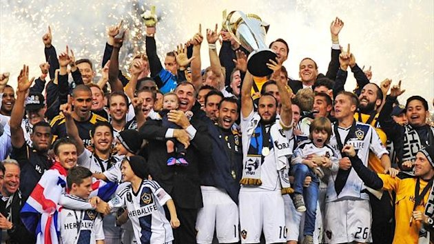 The Los Angeles Galaxy celebrate the win after defeating the Houston Galaxy to win the 2012 MLS Cup at The Home Depot Center (AFP)