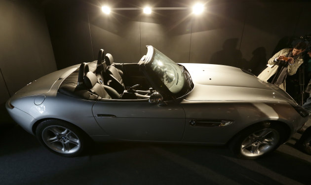 A pre-production replica BMW Z8 roadster made for the film 'The World is Not Enough' starring Pierce Brosnan is seen at a press preview of the James Bond movie memorabilia charity auction at C