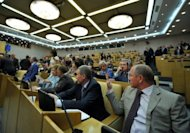 Russia's State Duma deputies speak in May 2012. The Russian parliament on Wednesday voted to approve a contentious bill that activists fear will introduce Internet censorship by blacklisting sites deemed as undesirable