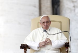 Pope Francis looks on during his weekly general audience …
