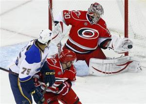 Ward gets 200th career win as Hurricanes top Blues