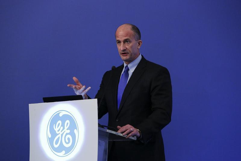 Vice Chairman of GE and CEO of GE Global Growth and Operations Rice speaks to reporters during a news conference in Mumbai