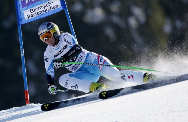 Hosp of Austria speeds down in the women's Alpine Skiing World Cup Super G race in Garmisch-Partenkirchen