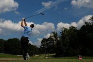 Jim Furyk watches his tee shot on the 15th hole during the second round of the TOUR Championship in Atlanta, Georgia