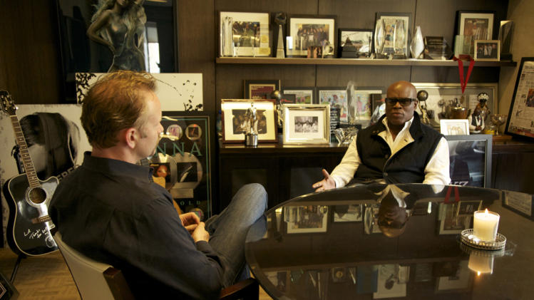 "Morgan Spurlock Antonio ""L.A."" Reid The Greatest Movie Ever Sold Poster Production Stills Sony Pictures Classics 2011"