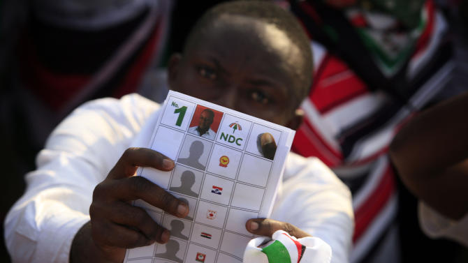 A ruling party supporter holds up a mock ballot marked for President John Dramani Mahama, at Mahama's final campaign rally ahead of Friday's presidential election, in Accra, Ghana, Wednesday, Dec. 5, 2012. After five coups and decades of stagnation, the West African nation of 25 million is now a pacesetter for the continent's efforts to become democratic. Ghanaians will go to the polls on Friday to choose between four candidates, including Mahama, a former vice president who assumed the top post in July after the death of president John Atta Mills, and former foreign minister Nana Akufo-Addo who lost the presidency by less than 1 percent in 2008.(AP Photo/Gabriela Barnuevo)