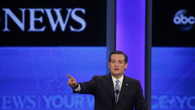 Republican U.S. presidential candidate Senator Ted Cruz delivers his closing statement at the Republican U.S. presidential candidates debate sponsored by ABC News at Saint Anselm College in Manchester
