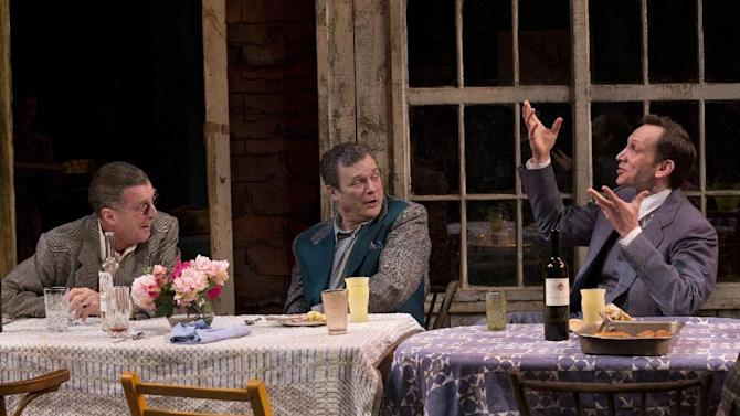 """This theater image released by Philip Rinaldi Publicity shows, from left, John Glover, John Procaccino and Stephen Kunken in a scene from Richard Nelson's new play, """"Nikolai And The Others"""", currently performing at the Mitzi E. Newhouse Theater in New York.  (AP Photo/Philip Rinaldi Publicity, Paul Kolnik)"""