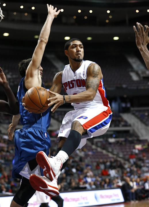 Detroit Pistons point guard Peyton Siva (34) looks to pass against the Minnesota Timberwolves in the second half of their preseason NBA basketball game in Auburn Hills, Mich., Thursday, Oct. 24, 2013
