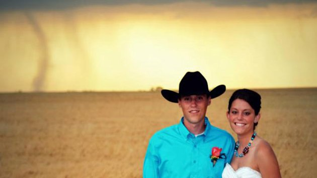 Tornado Backdrop in Kansas Wedding Photos (ABC News)