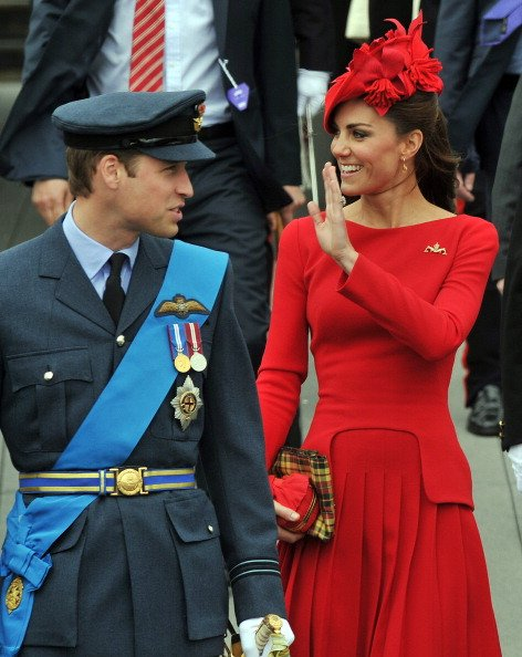 Prince William, Duke of Cambridge and Catherine, Duchess of Cambridge prepare to board the royal barge 'Spirit of Chartwell' during the Thames Diamond Jubilee Pageant on June 3, 2012 in London, Englan