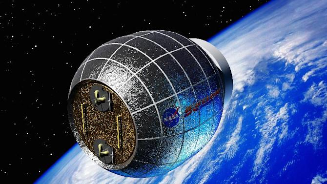 This artist's rendering provided by Bigelow Aerospace shows a Bigelow inflatable space station. NASA is partnering with this commercial space company to test an inflatable room that can be compressed into a 7-foot tube for delivery to the International Space Station. NASA is expected to install the module by 2015. (AP Photo/Bigelow Aerospace)