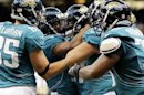 Jaguars Wide Receiver Elliott Celebrates With His Team After Scoring A Touchdown Late In The Fourth Quarter Against The Saints During Their Pre-season NFL Football Game In New Orleans