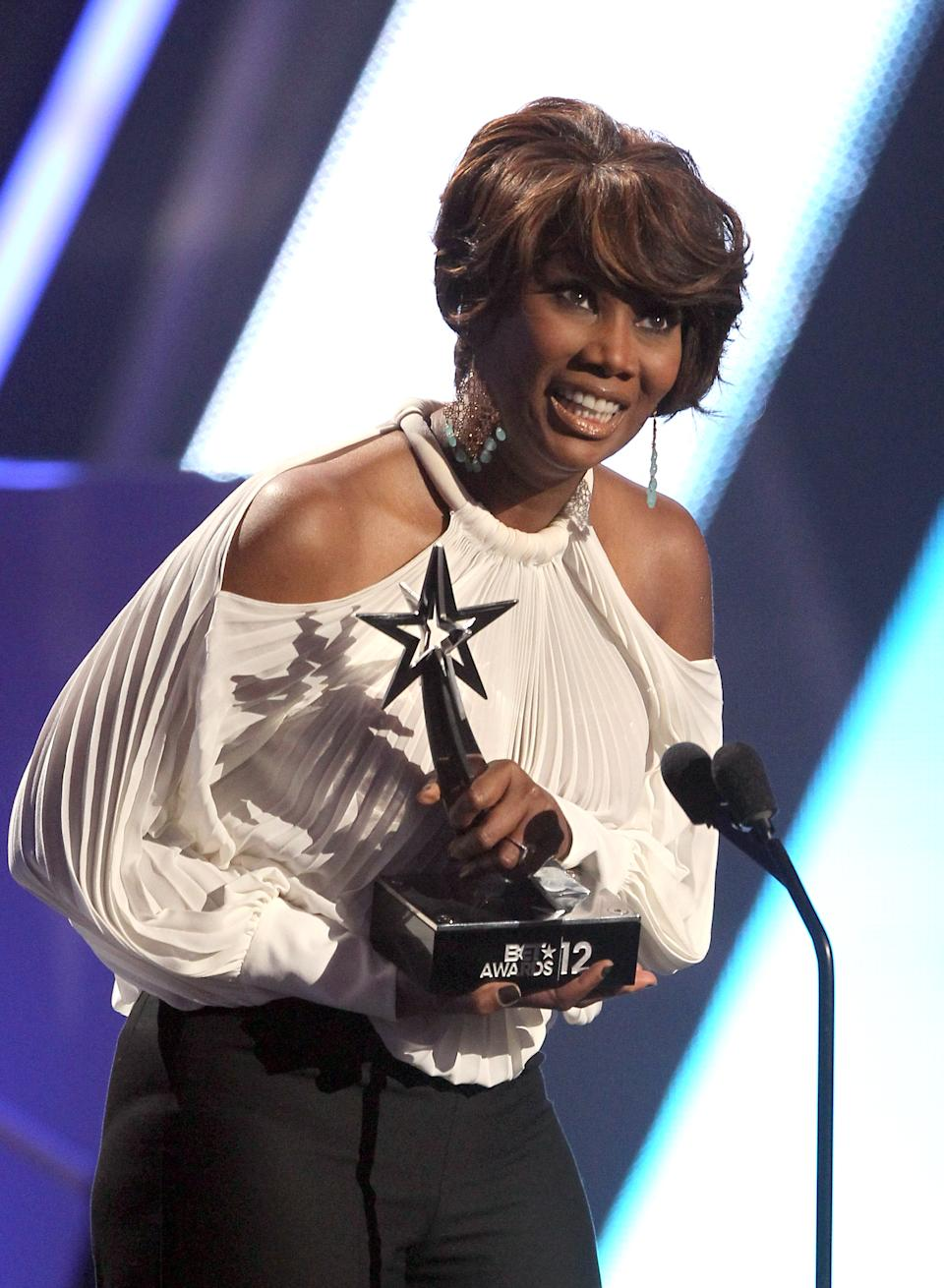 Yolanda Adams accepts the award for best gospel at the BET Awards on Sunday, July 1, 2012, in Los Angeles. (Photo by Matt Sayles/Invision/AP)
