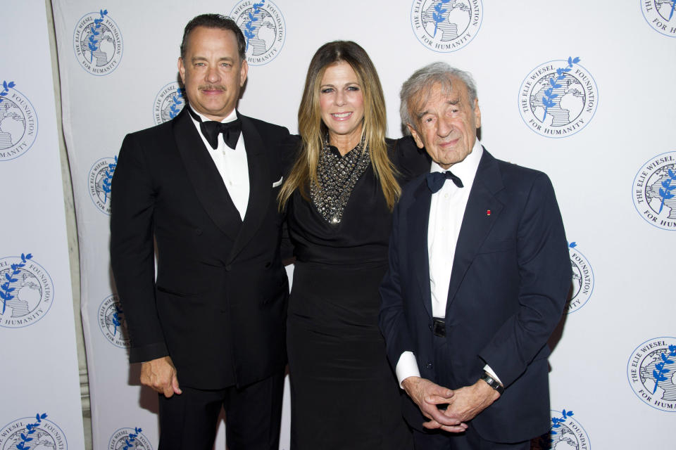 Honoree Tom Hanks, left, Rita Wilson and Elie Wiesel attend The Elie Wiesel Foundation For Humanity's Arts for Humanity Gala on Wednesday, Oct. 17, 2012  in New York.  (Photo by Charles Sykes/Invision/AP)
