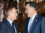 <p>Republican presidential candidate and former Governor of Massachusetts Mitt Romney (R) speaks with Polish Prime Minister Donald Tusk, during a meeting at Artus Court in Gdansk. On the final leg of a three-stop tour designed to burnish his foreign policy credentials, Romney chose to visit a country which has notably testy relations with Russia and is now a pillar of NATO and the EU.</p>