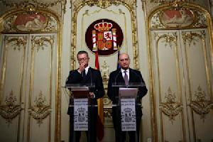 Spain's Justice Minister Ruiz-Gallardon and Spain's Interior Minister Fernandez Diaz hold a joint news conference in Madrid