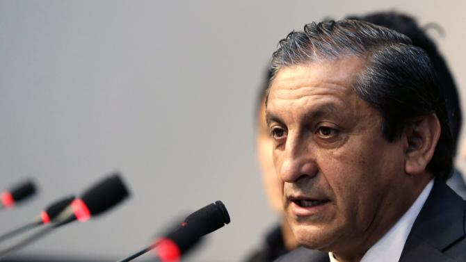 Paraguay's national soccer coach, Argentine Ramon Diaz speaks as he presents his technical team during a news conference in Asuncion