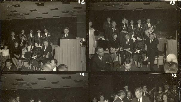 This four picture combo, provided by Alexander Arroyos, taken Nov. 21, 1963, shows President John F. Kennedy and first lady Jacqueline Kennedy greeting Latino activists at a LULAC gala in Houston's Rice Hotel. Historians say Kennedy's appearance at the Rice Ballroom _ 49 years ago this week and the night before his assassination _ was likely the first time a U.S. president officially acknowledged Latinos as an important voting block.  (AP Photo/Courtesy of Alexander Arroyos)