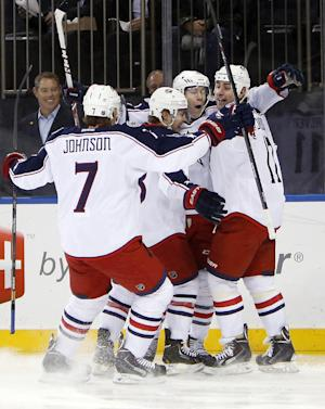 Columbus scores 3 in 1st, top Rangers