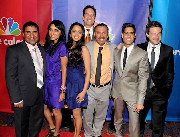 "The cast of ""Outsourced"": (L-R) Parvesh Cheena, Rebecca Hazlewood, Anisha Nagarajan, Diedrich Bader, Rizwan Manji, Sacha Dhawan, and Ben Rappaport attend the 2010 NBC Upfront presentation at The Hilto"