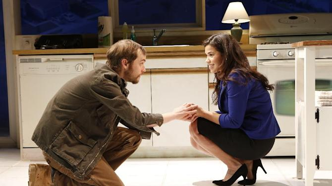 """This theater publicity photo released by The Bruce Cohen Group, shows Tobias Segal, left, and America Ferrera in a scene from """"Bethany,"""" currently performing off-Broadway at New York City Center Stage II. (AP Photo/Bruce Cohen Group, Carol Rosegg)"""
