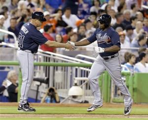 Justin Upton, Maholm help Braves beat Marlins 2-0